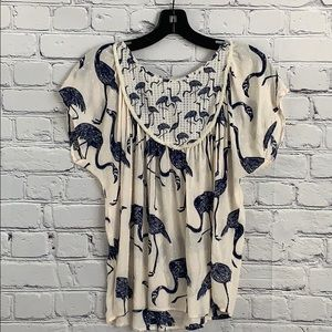 Anthropologie Cory Lynn Carter flamingo top